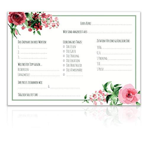 Snaplay I 60 Gästebuchkarten Hochzeit I Gästekarten für Gästebuch Hochzeit mit Fragen I Auch Alternativ für Hochzeitsgästebuch I Design passend zu jeder Hochzeitsdeko Vintage, Boho oder modern