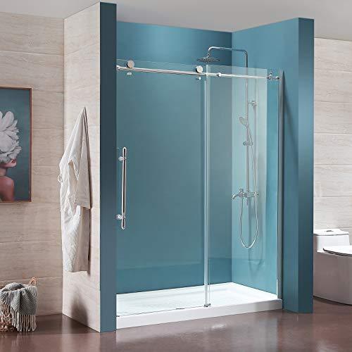 Review Of Mecor Frameless Sliding Shower Door 56-60 W x 76 H 1/3 Clear Tempered Glass Sliding Gl...