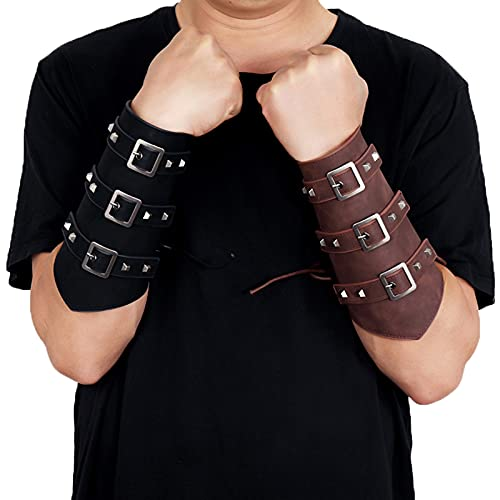 keepwo Brazaletes de Cuero PU para Hombres, brazaletes Retro Medievales para Hombres, Vikingo, Cosplay, guantelete, Pulsera, Vendaje, Brazalete de Tiro con Arco