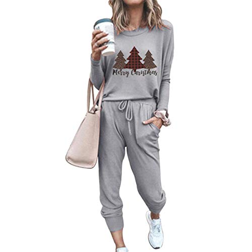 Christmas Two Piece Sweatsuits For Women Long Sleeve Pullover and Drawstring Sport Outfits Sets(Grey,XXL)