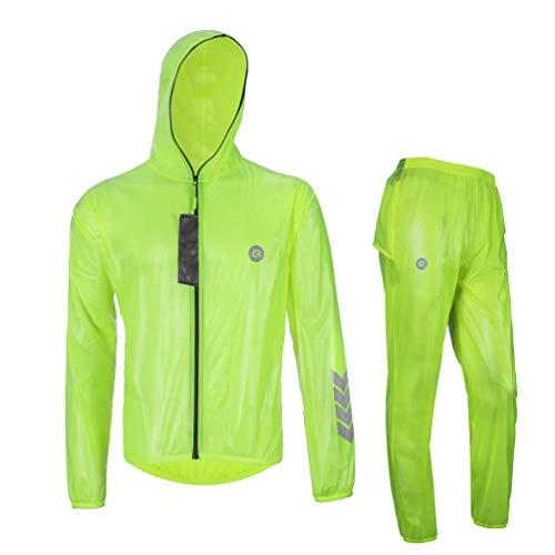 Rockbros High Visibility Cycling Rain Jacket Men's Windproof Rain Coat Motocycle Rain Suit Green, European Size 2XL/Asian Size 3XL