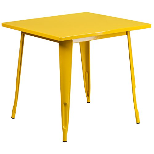 Flash Furniture Commercial Grade 31.5' Square Yellow Metal Indoor-Outdoor Table