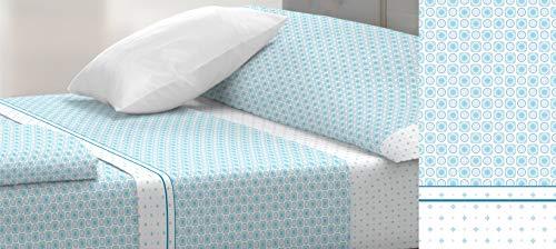 TOLRA Juego DE SÁBANAS Azul Cama 90 cm CORONA-4151
