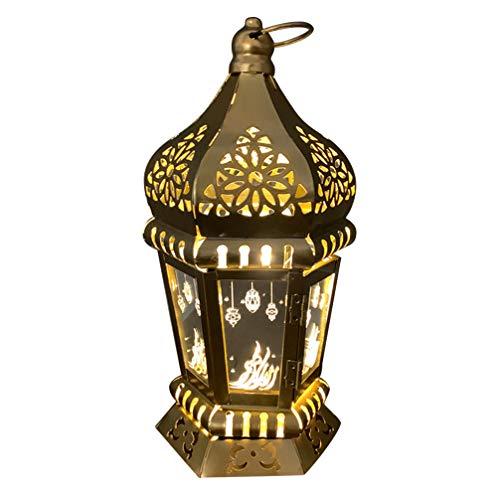 SOLUSTRE Lanterne de Bougie Marocaine Bougeoir Suspendu Vintage Décorations de Ramadan LED Centres de Table de Mariage Cadeau Musulman pour Les Vacances Fête de Mariage Ramadan Intérieur