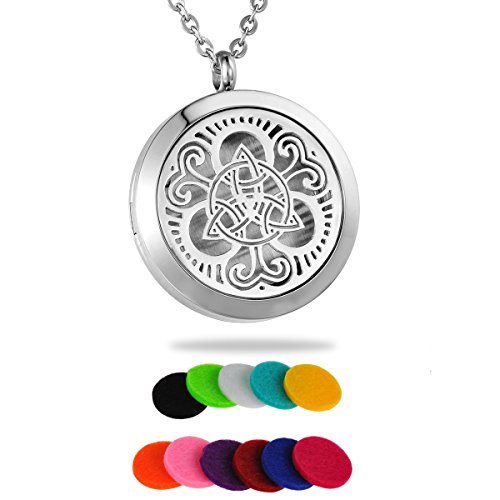 HooAMI Aromatherapy Essential Oil Diffuser Necklace - 316L Stainless Steel Celtic Knot Locket Pendant,24' Chain and 12 Refill Pads