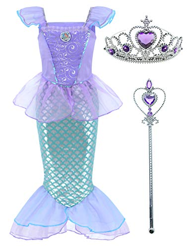 Little Girls Mermaid Princess Costume Dress for Girls Dress Up Party with Crown Mace (M,110cm) Pink