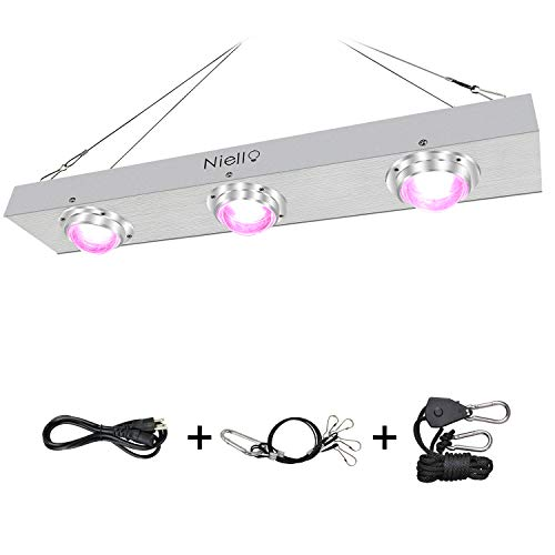 COB LED Grow Light, Niello 600W Full Spectrum Grow Lamp for Indoor Plants, with Stronger Cooling Fan System No Noisy LED Plant Lamp Professional for Hydroponics Greenhouse Tents