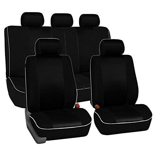FH Group Universal Fit Full Set Cloth Car Seat Cover with Piping Airbag & Split Ready, (Black) (FH-FB063115, Fit Most Car, Truck, Suv, or Van)