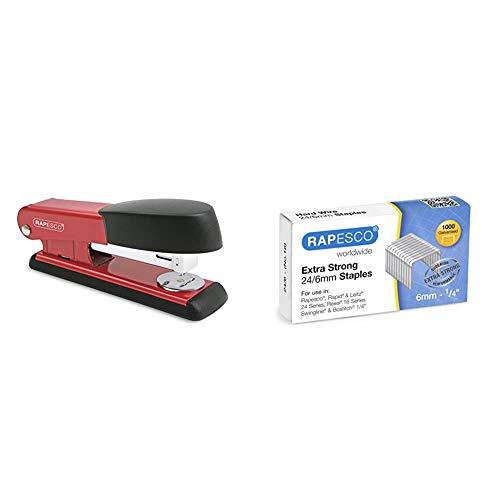 Rapesco Bowfin - Grapadora metálica, 25 hojas de capacidad, usa grapas 26 y 24/6 mm, color rojo + Caja de 1000 grapas 24 / 6 mm 'extra fuertes'