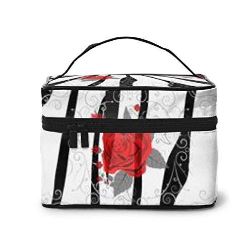 Draagbare Travel Toilettas Organizer, Ipes met Rode Roos Bloemen Zebra Cosmetische Tassen voor Vrouwen Meisje, Make-up Tas, Opbergtas
