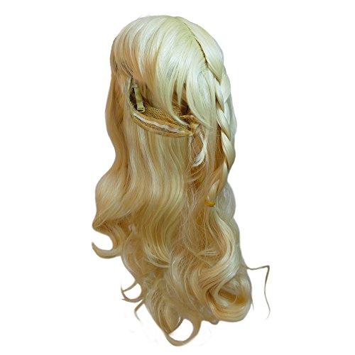 Katara - Perruque pour cosplay /soirée déguisée la Reine des Neiges ; perruque de princesse Elsa; blonde avec une tresse; adaptée aux enfants et aux adultes, tour de la tête de 35cm à 50cm