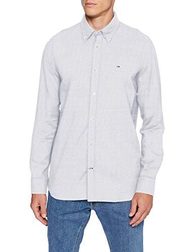 Tommy Hilfiger Slim Micro Print Twill Shirt Camicia, White/Carbon Navy, M Uomo