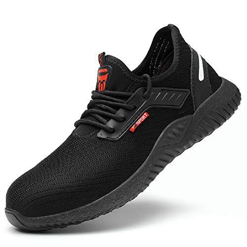 Zapatillas de seguridad para hombre con punta de acero, zapatillas deportivas de seguridad Negro Size: 37 EU