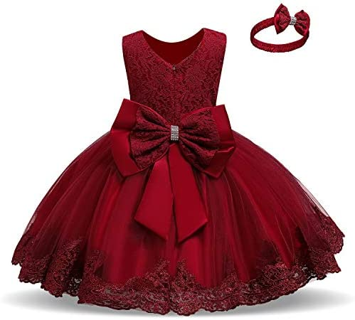 NNJXD Baby Girls Lace Dress Bowknot Flower Dresses Wedding Pageant Baptism Christening Tutu product image