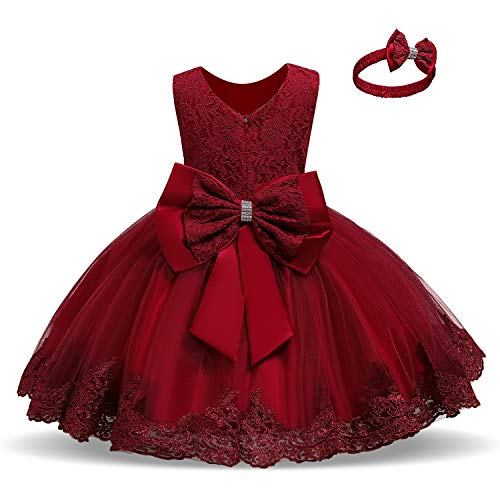 NNJXD Baby Girls Lace Dress Bowknot Flower Dresses Wedding Pageant Baptism Christening Tutu Gown Size (70) 0-6 Months #Red