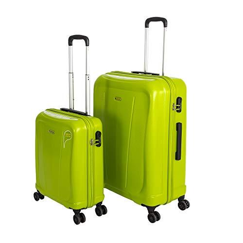 Original Verage Hero Marken Koffer ABS Hartschale Reisekoffer, Reisetrolley. (Grün (Lime), Koffer Set (S+L))