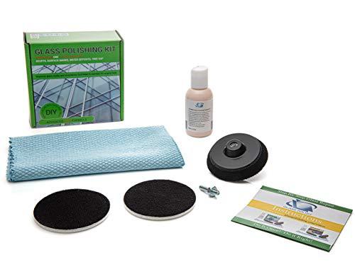 Glas Polieren Kit–DIY Reparatur–entfernt Schrammen, Oberfläche Marken, Kalk und Mineraldepot (7,6cm, 75mm Komponenten)