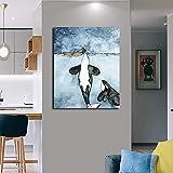 ganlanshu Cartel de Acuarela de Mural de Paisaje Marino de Ballena e impresión de Arte para la decoración del hogar de la Sala de Estar,Pintura sin Marco,60X90cm