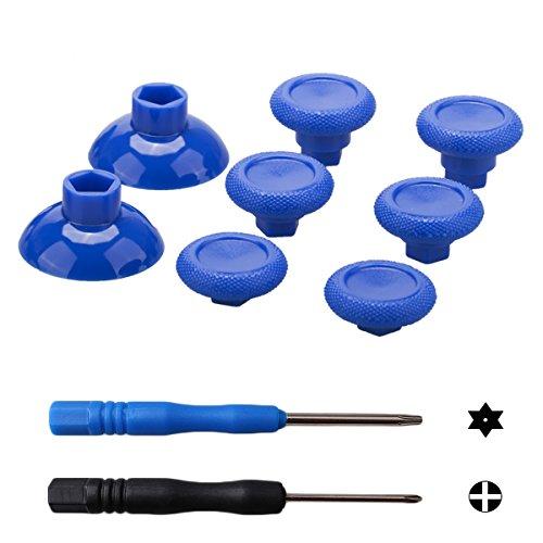 9CDeer 8 Piezas Thumbstick Palanca de Mando Palos Analógicos Reemplazos Juegos de Reparación Puños de Pulgar CÓNCAVO ESTILO Azul para PS4, Xbox One Mando, Ven con Destornilladores
