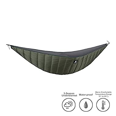 OneTigris Hammock Underquilt, Lightweight Camping Quilt, Packable Full Length Under Blanket (OD Green - 3 Seasons Underquilt)