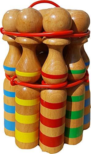 GICO Kegelspiel Kegel Set Bowling aus Holz groß für Kinder und Erwachsene - Massivholz 24 cm, gestreift - 3025