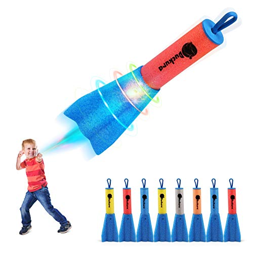 Duckura Slingshot Finger Rockets, Foam Rocket Launchers with LED Lights, Soars Up to 100 Feet, Outdoor Camping Game Activities, Party Favor Toys Gifts for Kids Age 4 5 6 7 8 9 + (8 Pack)