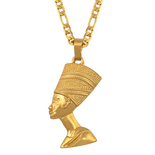 Minekkyes Egipcio Reina Nefertiti Colgante Collares Mujeres Hombres joyera Plata Color/Oro Color joyera Africana 60cm