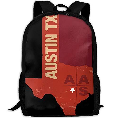 Ergonomischer Schulrucksack,Schultaschen,Laptop Schulrucksack,Sportrucksack,Casual Daypack,Kinder Groß Schulrucksack,Austin Tx Sternenkarte College Daypack