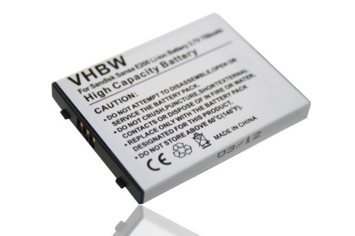 vhbw Batterie Compatible avec Sandisk Sansa E200, E250, E260, E270, E280 Lecteur MP3 baladeur MP3 Player (750mAh, 3,7V, Li-ION)