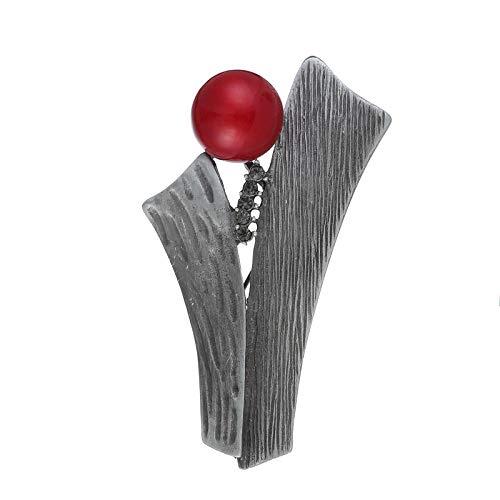 KXBY Metalen broche vrouwelijke rode gesimuleerde parel-boom-soort broche stiften voor kleding-sjaal-sieraden-decoratie schattige broche