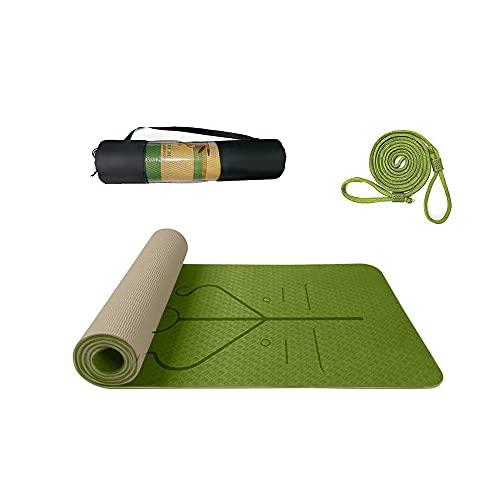 Esterilla Deporte Antideslizante con Material ecológico TPE,Yoga Mat diseñado para Entrenamiento físico con Correa de Transporte y Bolsa con Línea de Posición Corporal,183cm x61cm x0.6cm (Pasto verde)
