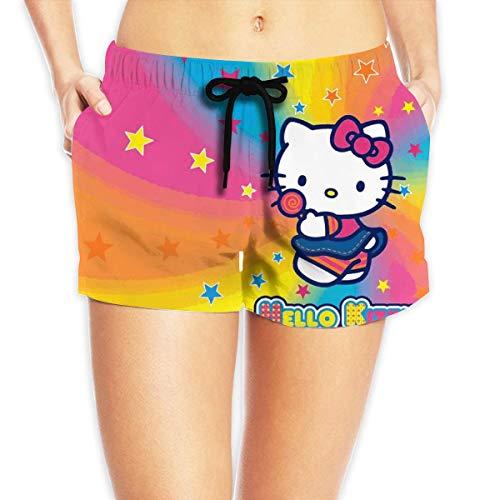 Women Sexy Hot Pants Summer Casual Shorts Hello Kitty Rainbow Short Beach Trousers XXL