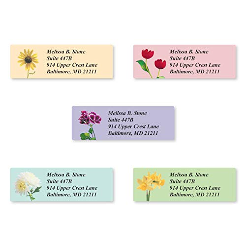 Garden Blossoms Assorted Set of 215 Sheeted Address Labels