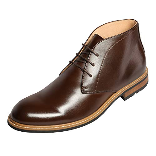 Bruno Marc BERGEN-02 Men's Formal Modern Lace Up Leather Lined Short Ankle Oxford Dress Boots Dark Brown Size 10.5