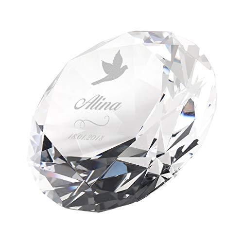 polar-effekt Diamant Glas Tischdekoration inkl. personalisierter Gravur - Dekostein - ideal als Deko - hochwertige Geschenkidee - Ideal zur Taufe - Motiv Taube