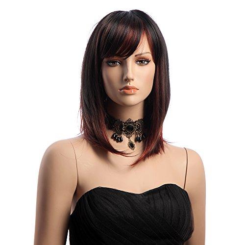 Bluelover 16 Pouces Moyen Long Droit Kanekalon Full Perruque Color Gradation Perruques Synthétiques Cheveux
