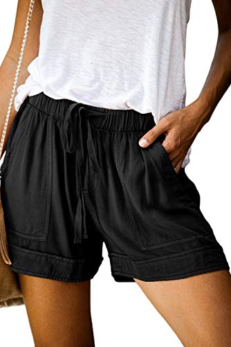 Shorts Damen Sommer Kurze Hosen Tunnelzug Elastische Stoffhose Solide Baumwolle Leinen Strand Shorts mit Taschen (385-Schwarz, Small)