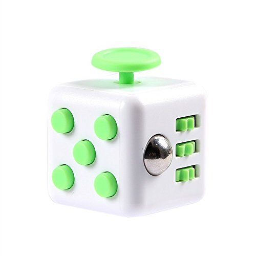 Fidget Cube mit Hülle Schreibtisch-Spielzeug Klicker Joystick-Tasten zum Stressabbau, bei Angst, zum Konzentrieren ADHD Autismus Erwachsene Kinder Studenten Büro Geschenk, 13?Green White