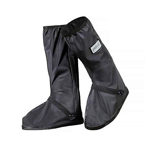 YMTECH Regenüberschuhe Wasserdicht Schuhe Überschuhe, Outdoor Rutschfester Schuhüberzieher Fahrrad Regenschutz Regenschuhe (Lang, 46-47 EU)
