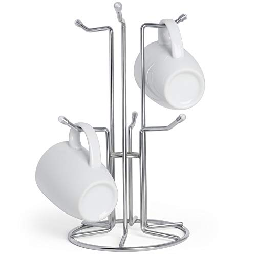 HULISEN Mug Holder Large Size for Easy Pick and Place Standing Coffee Cup Tree with 6 Hooks Independent Tea Rack for Counter