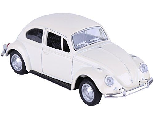 Berry President Classic 1967 Volkswagen Vw Classic Beetle Bug Vintage 1/32 Scale Diecast Metal Pull Back Car Model Toy for Gift/Kids (Beige)