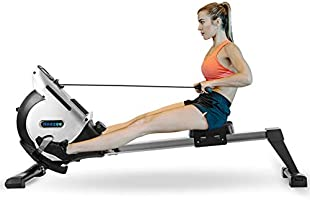 Rowing Machine with 16 Levels Magnetic Resistance, Neezee Super Silent Rowing Machine with Aluminum Slide Rail, LCD...