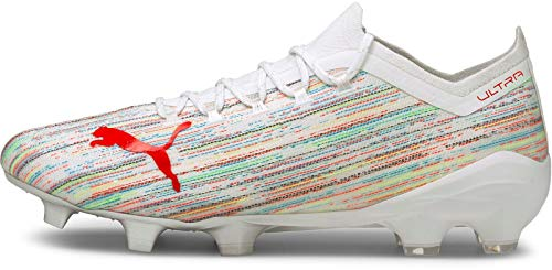 Puma Ultra 1.2 FG/AG Football Shoe, White-RED Blast Silver