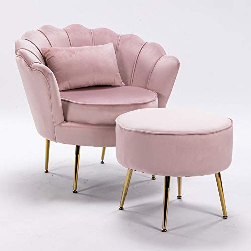 LZWZW Lounge Chairs Arm Chair with Footstool Living Room Velvet Tub Armchairs Palting Metal Leg Armrests Sofa Chair (Pink)