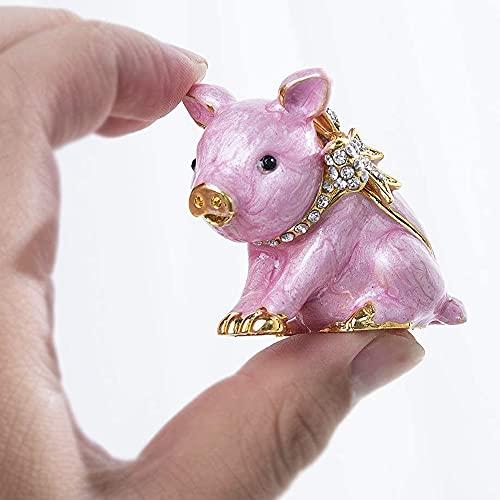 Alloy Crystal Pig Figurine Trinket Box Hinged Jeweled Piggy Jewelry Box