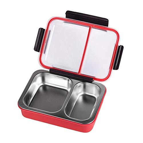 OldPAPA Fiambrera Infantil,Acero Inoxidable Caja de Almuerzo con 2 Compartimentos para Adultos y Niños Colegio,Control de porciones Contenedores de Almuerzo A Prueba de Fugas, Libre de BPA