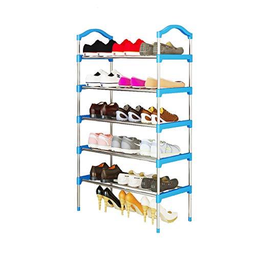 OPIU Función Zapatero para el hogar Organizador de almacenaje Derecho del Estante de Zapato de 5 Niveles, Estante de Zapato del Acero Inoxidable Soporte para Zapatos Duradero y Estable (Color : Blue)