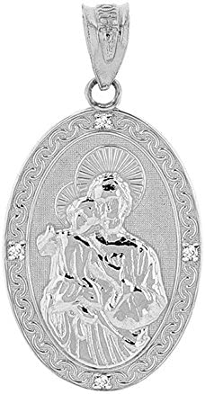 Saint Collection Fine 925 Sterling Silver CZ Accented St Joseph Oval Medal Pendant 1 15 product image