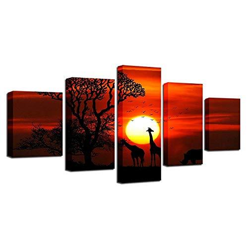 ARXYD 5 stuks canvas gedrukt decoratieve muurkunst gedrukte foto's 5 stuks rode roos bloem houten plank schilderij voor de woonkamer moderne canvas poster moderne wand decoratie canvas afbeelding Hd Gem200*100 CM A4.