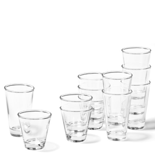 Leonardo Ciao Trink-Glas, Trink-Becher aus Glas, spülmaschinengeeignete Wasser-Gläser, 12er Set, 215 ml und 300 ml, 020486